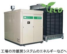 工場の冷暖房システムのエネルギーなどへ